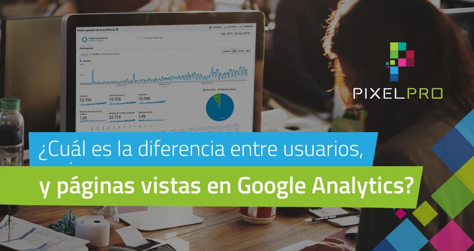 ¿Cuál es la diferencia entre usuarios, sesiones y páginas vistas en Google Analytics?